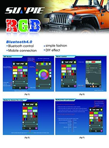 7'' LED Headlights Bulb RGB Halo Angel Eye with Bluetooth Remote for 1997~2017 Jeep Wrangler JK LJ CJ Sahara Sport Rubicon Hummer H1 H2 Headlamp Driving Light DRL by SUNPIE (Image #6)