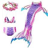 Anbaby Girls 3 Pcs Princess Mermaid Tail Swimwear Swimsuit Bikini Set