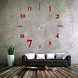 oldeagle Modern DIY Wall Clock Acrylic 3D Mirror Surface Sticker Home Office Decor (Red)