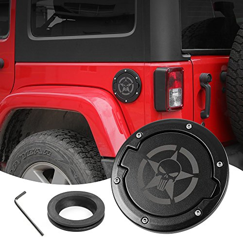 Gas Cap Fuel Door Gas Tank Cover for Jeep Wrangler JK & Unlimited Sport Rubicon Sahara 2007-2018 (Skull)
