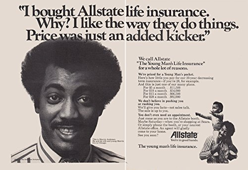 1973 Allstate  I Bought Life Insurance  Marvin Anderson  Allstate Insurance Print Ad