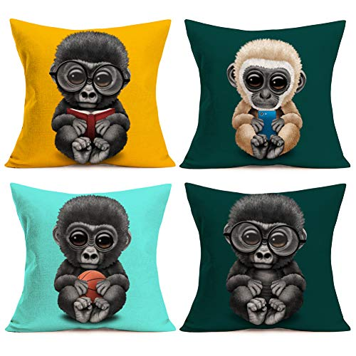 Asamour Throw Pillow Covers Set of 4 Adorable Animal Gorilla Monkey Baby Wearing Glasses Cotton Linen Pillowcase Home Sofa Cushion Case Cover 18inches,Reading Book,Playing Basketball & Mobile Phone -