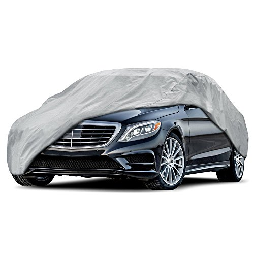 "BDK All Size Sedan Car Cover - Universal Fit, Non Woven, Grey W/ Secure Lock (Fits up to 157"")"