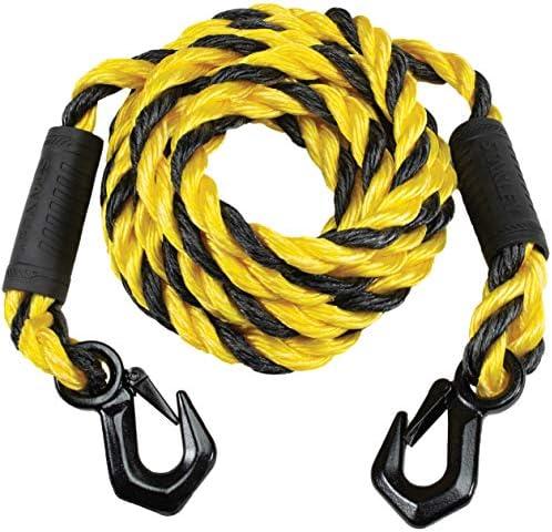 Stanley S1052 Black/Yellow 5/8 x 15` Poly-Blend Braided Tow RopeHeavy Duty Tri-Hook (7200 lbs Break Strength)