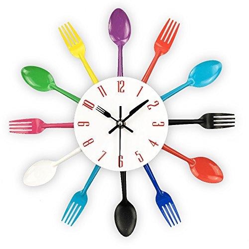 12' Cuckoo Clock (Cutlery Design Wall Clock Metal Colorful Knife Fork Spoon Kitchen Clocks Creative Modern Home Decor Antique Style Wall Watch)