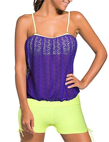 Gilet Swimsuit 2 Sans Up Elégant Triangle Beachwear Taille Shorty Bain Violet Aeneontrue Grande Double Manches Tops Femme Eté Swimwear Tankini Maillot De Bandage Pièces wCPBaqZn