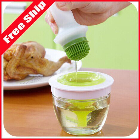 Kitchen Oil Bottle Pot Container Anti Oil Leak with Silicone Oil Brush Grill Brush Bbq Tool Silicone Basting by Toppy kitchen