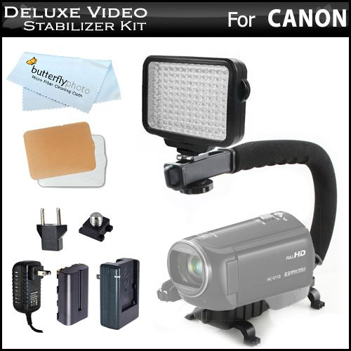 10-Piece Pro 120 LED Dimmable On-Camera LED Video Light Kit with Battery, Charger, Diffusers Case + Pro Action Stabilizing Handle For Canon VIXIA HF R52, HF R50, HF R500, HF G10, HF M40, HF M41, HF M400, HF R62, HF R60, HF R600 HD Camcorder + More