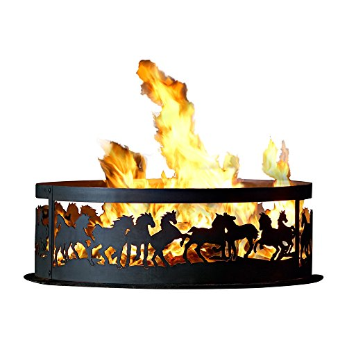 Campfire Fire Ring w Galloping Mustangs Design (30 in. Dia.)