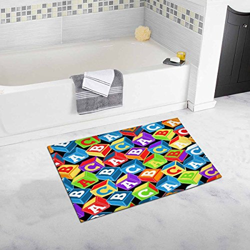 INTERESTPRINT Colful ABC Blocks Plush Bathroom Decor Rug Mat with Non Slip Rubber Backing, 32 L X 20 W Inches