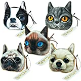 Hoxis Lovely Cat Dog Printing Pattern Zipper Coin Purse / Cartoon Animal Mini Wallet 5 piece(Large)
