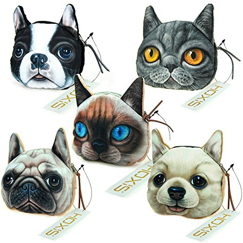 Hoxis Lovely Cat Dog Printing Pattern Zipper Coin Purse / Cartoon Animal Mini Wallet 5 piece(Large) - Cartoon Pattern Canvas