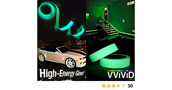 VViViD High Energy Glossy Green Glow in The Dark Vinyl Detailing Tape 1.25 Inches x 10 Feet Roll