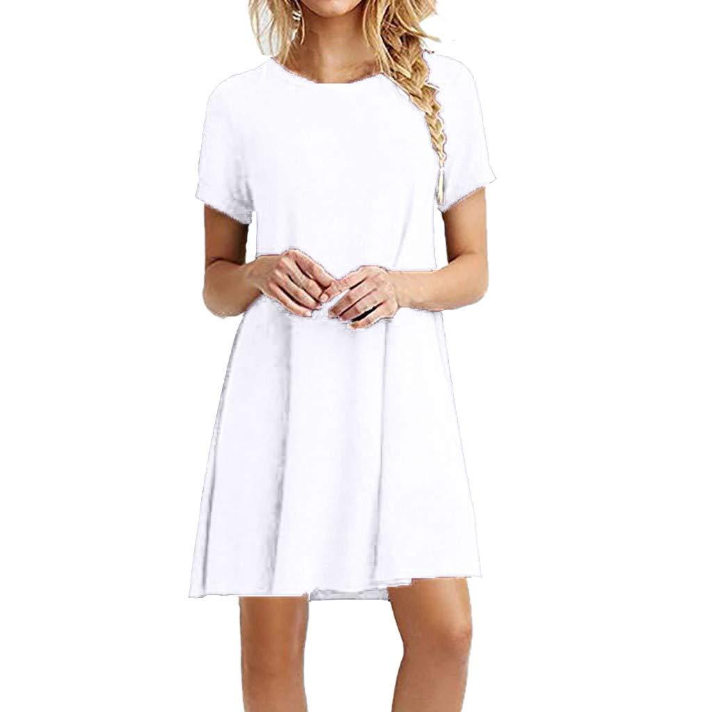 Women Shift Dress BXzhiri Solid O-Neck Short Sleeve Casual Swing Knee Length Dresses White