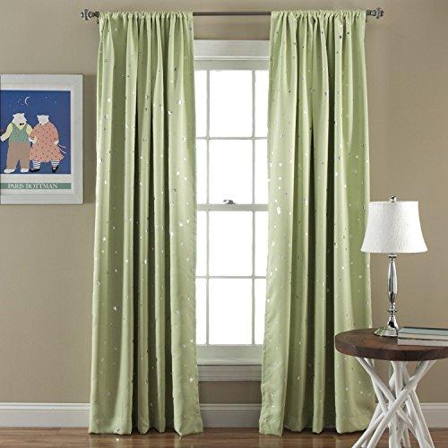 Lush Decor Star Room Darkening Window Panel, 52 by 84-Inch, Green, Set of 2