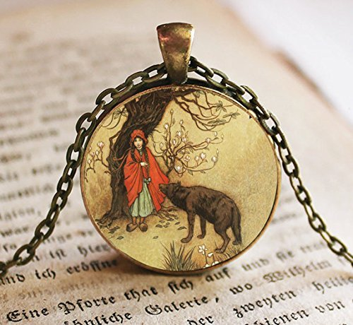 Jewelry tycoonLittle Red Riding Hood with Wolf Image Pendant, Little Red Riding Hood, Necklace, Fairy Tales, Once Upon a Time