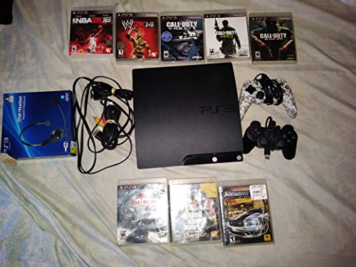 (Sony Playstation 3 Super Slim 500GB Game Console System Bundle PS3 w/4 GAMES)