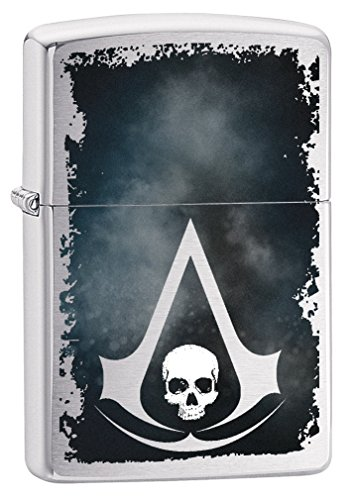 Zippo Lighter: Assassins Creed Logo and Skull - Brushed Chrome 79299