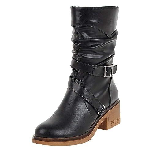 Tefamore Botas de Lluvia de Nieve para Mujer Invierno Calzado Cálido Botines Casual Zapatos Calzado Deportivo Zapatos Altos Gruesos Inferiores Botas: ...
