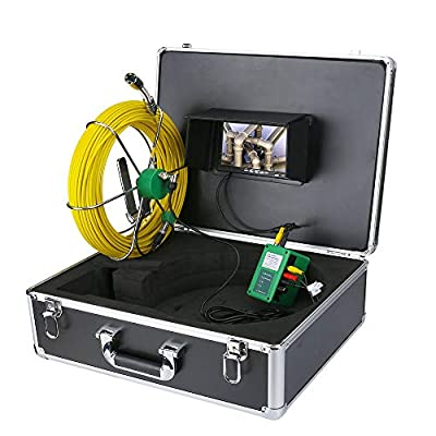 AMOCAM Pipe Pipeline Inspection Camera, 30M/100ft Snake Drain Pipe & Wall Sewer Industrial Endoscope System with 7 Inch LCD Monitor 1000TVL IP68 Waterproof Video Borescope Inspection Camera
