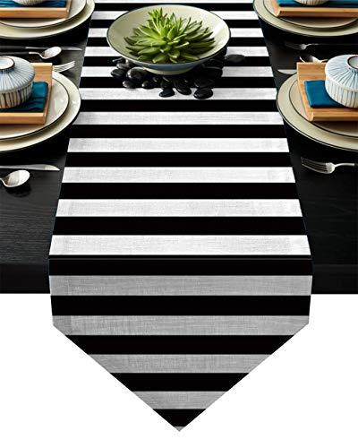 (Vandarllin Cotton Linen Table Runner Dresser Scarves Black and White Striped&Modern Design Non-Slip Burlap Table Setting Decor for Wedding Party Holiday Dinner Home,)