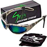 Spits Eyewear Sharx Digital Camo Frame Polarized Sunglasses (Gray GT Blue Polarized with Foam Padding)