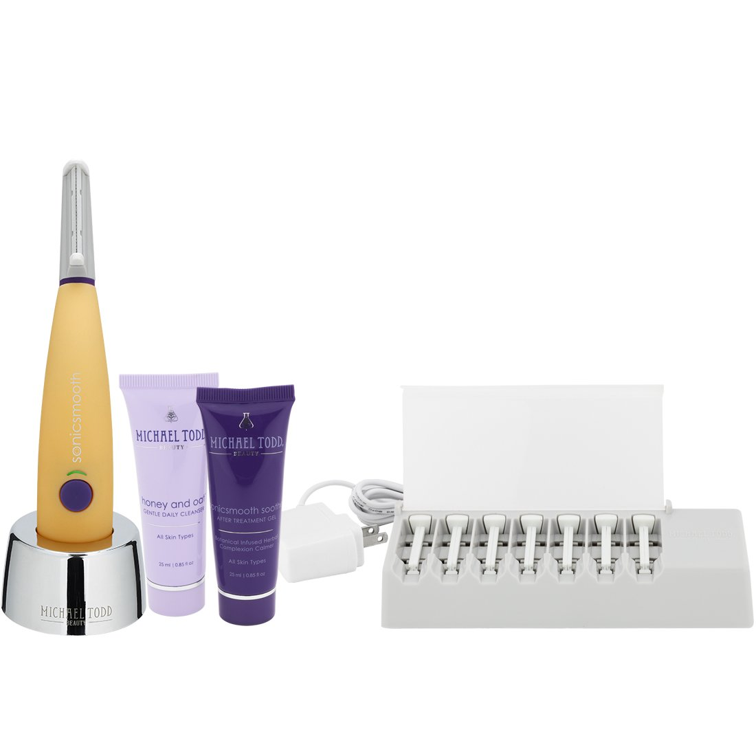 Michael Todd Sonicsmooth At-Home Dermaplaning Kit with Replacement Blades, Cleanser & Serum, Sonic Powered Peach Fuzz Remover and Exfoliation Tool, Yellow