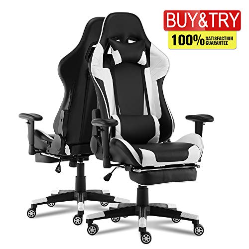 Video Gaming Chair Racing Office-PU Leather High Back Ergonomic 180 Degree Adjustable Swivel Executive Computer Desk Task Large Size with Footrest,Headrest and Lumbar Support, White
