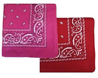 """2 PACK' Bandanas 100% Cotton Head Wrap 22"""" x 22"""" - 6 Red and 6 Pink in 1 pack"""
