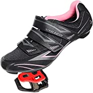 Venzo Bicycle Women's Road Cycling Riding Shoes - with Bike Clipless Sealed Bearing Look Delta Compatible Peda