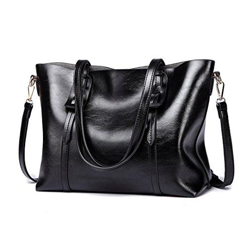 Miss Lulu Women Shoulder Bag Pu Leather Cross Body Bag Stylish Top Handle Handbag Purse Large Capacity Classic Ladies Tote? Black