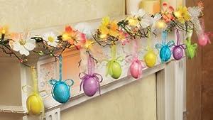 Amazon.com: Glittered Easter Egg Lighted Garland Decoration ...