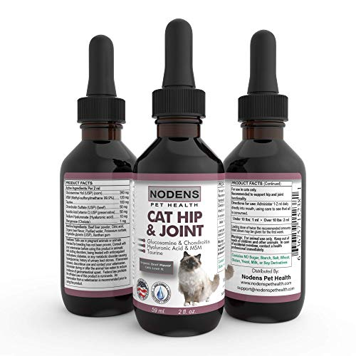 NODENS CAT Hip and Joint Glucosamine for Cats with Chondroitin and Opti-MSM Hyaluronic Acid for Improved Joint Flexibility and Pain Relief from Inflammation and Arthritis 2 floz