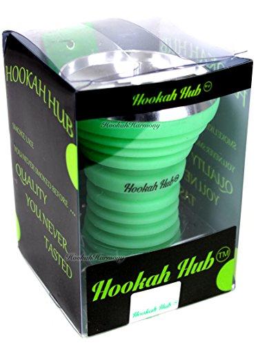 La Pipa De Hub Special Edition brilla en la oscuridad), color verde Shisha Tazón de Silicona con metal visualización Vortex...