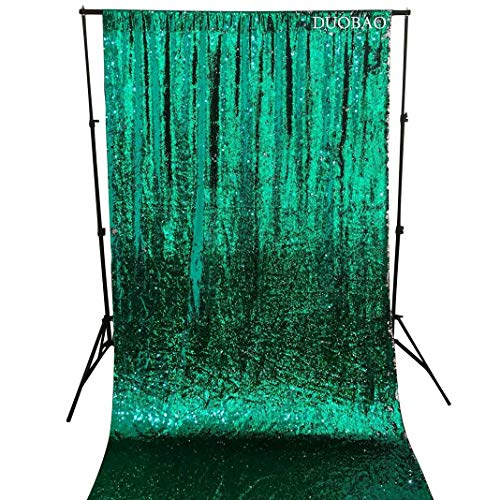 DUOBAO Sequin Curtains 2 Panels 96 Inches Silver Glitter Backdrop Curtain Green to Silver Reversible Sequin Backdrop for Photo Booth Mermaid Sequin Backdrop 4FTx8FT by DUOBAO (Image #2)