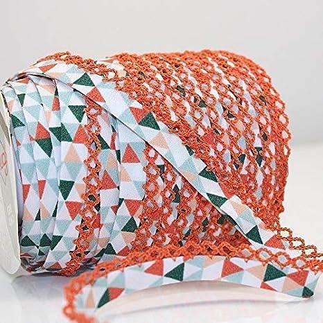 Higgs & Higgs - Triángulo Geométrico Borde de Encaje de Puntilla Bies - Naranja Verde/Naranja Borde 610/81 - Algodón Borde Moderno Estampado Estrellas - Naranja, Metre: Amazon.es: Hogar