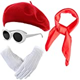 French Themed Costume Accessories Set - Beret Hat,Sheer Chiffon Scarf,Deluxe Theatrical Gloves,Retro Oval Clout Goggles Bold Sunglasses for Womens & Girls (Red)