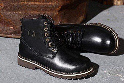 Hombres Ejército Botas Ocio Cuero Zapatos Otoño Invierno Cómodo Más Cachemira Mantener Calentar Grande tamaño 37-47 Black
