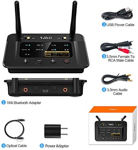 1Mii Bluetooth 5.0 Transmitter Receiver for Home Stereo TV, HiFi Wireless Audio Adapter with Audiophile ESS DAC & AptX HD/Low Latency, Long Range, Optical RCA AUX 3.5mm Outputs/Inputs