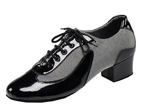 TDA Men's Vintage Classic Lace-up Round Toe Black Leather Salsa Tango Ballroom Latin Modern Dance Shoes 10 M US by TDA