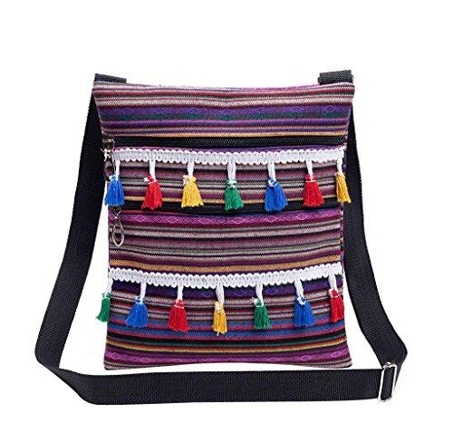 Bolsas de Mano del Hombro, Holacha Bolsa Pequena Rayada con Borla Estilo Tradicional para Mujeres D