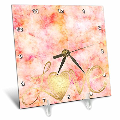 3dRose PS Inspiration - Pink Watercolor Gold Love Heart - 6x6 Desk Clock (dc_280662_1) by 3dRose