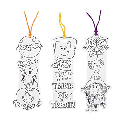 Halloween Bookmark Craft (Fun Express Color Your Own Halloween Monster Shaped Bookmarks (Set of)