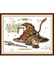 Joy Sunday Arts Crafts Cross Stitch DIY Hand Needlework Starter Kits 11CT or 14CT Stamped Embroidery for Beginners Pre-Printed Pattern