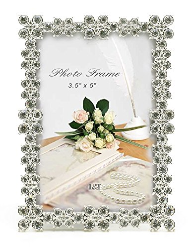 L&T Luxury Metal Picture Frame Silver Plated with Brilliant Crystals 3.5x5 Inch, Unique Photo Frame for Wedding Anniversary, Birthday and Special - 5 Crystal Photo Inch