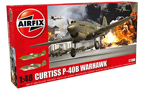 Airfix WWII Curtiss P-40B Warhawk 1:48 Military Aircraft Plastic Model Kit (48 Aircraft Model)
