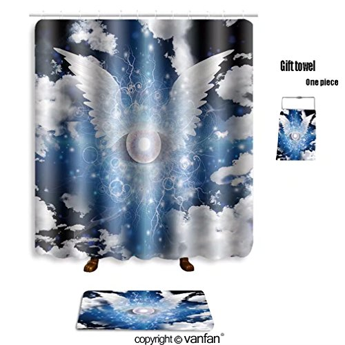 vanfan bath sets with Polyester rugs and shower curtain winged eye 131890544 shower curtains sets bathroom 60 x 78 inches&23.6 x 15.7 inches(Free 1 towel and 12 - Glasses Cat Eye Winged