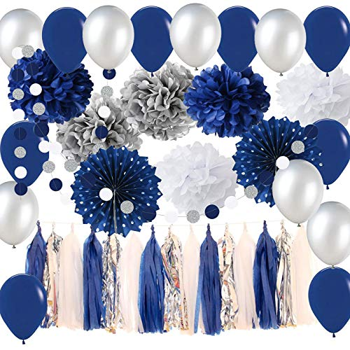 NAVY and SILVER Graduation Garland, Navy Wedding Decorations Tissue Pom Pom Latex Ballons Silver Polka Dot Paper Fans for Boy First Birthday Decoration/Navy Silver Bridal Shower Decorations