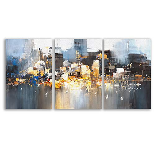 wall26 - 3 Plane Canvas Wall Art - Color Block Oil Painting Abstract Art for Living Room - Modern Home Decor Stretched and Framed Ready to Hang - 24