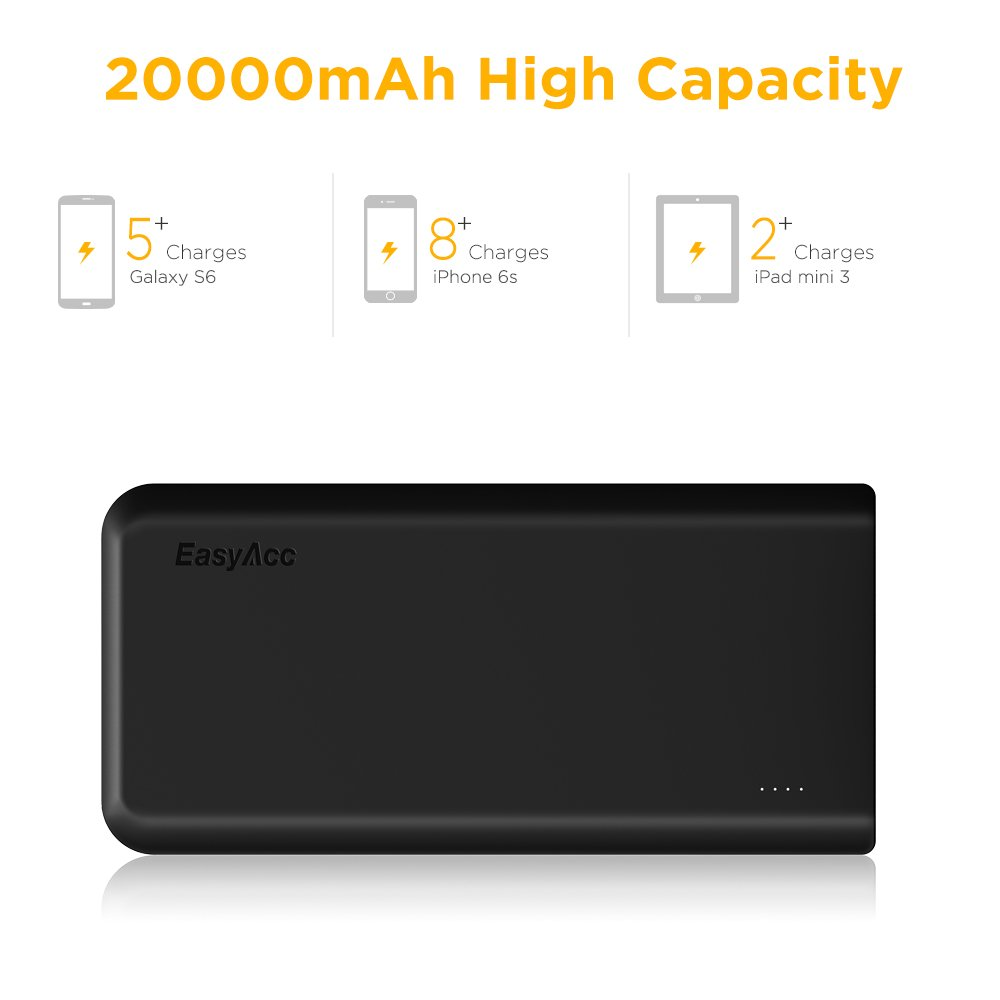 EasyAcc 20000mAh Portable Charger Fast Recharge Power Bank with 4A 2-Port Input 4.8A Smart Output High Capacity External Battery Pack for iPhone iPad Samsung Android - Black and Orange by EasyAcc (Image #3)